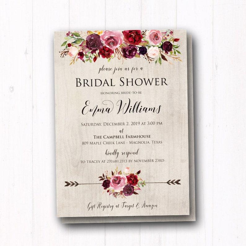 3be7bdc09f3e Dusty Rose Floral Bridal Shower Invitations Rose Burgundy