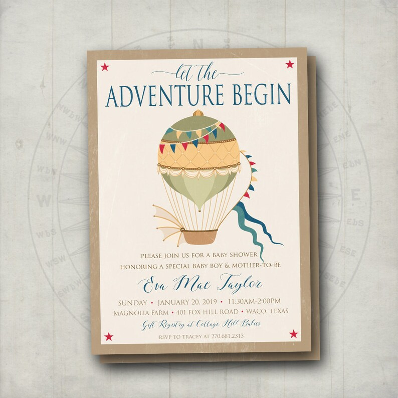 488b318261e8 Hot Air Balloon Baby Shower Invites Adventure Baby Shower