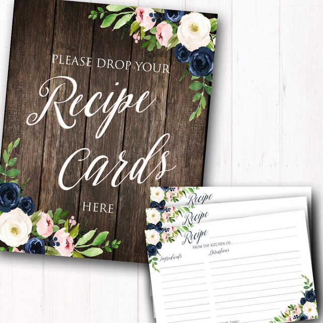 "Bridal Shower Recipe Cards - Navy Blush Pink Floral 4x6"" Recipe Cards - Printed Sets - Printed Recipe Cards - Table Sign Included"