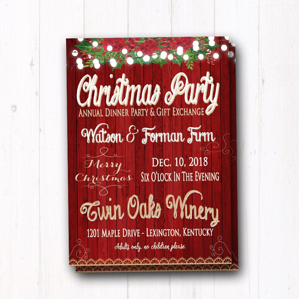 Rustic & Vintage Christmas Party Invitation Family Dinner | Etsy