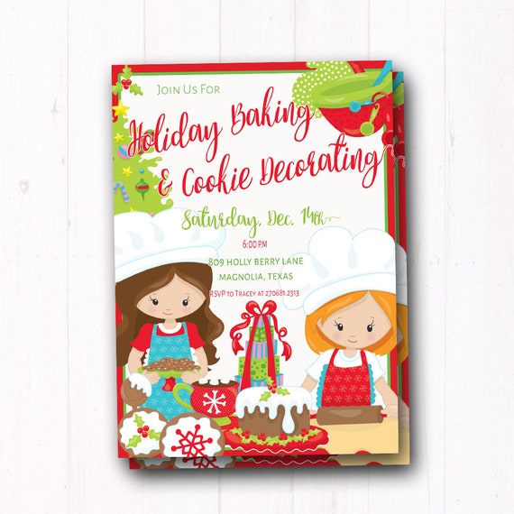 Kids Holiday Party Invitation Christmas Cookie Decorating Invite