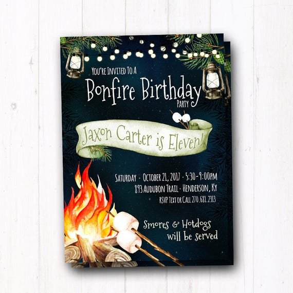 Bonfire Party Invitation Backyard Campfire Fall Bonfire Etsy