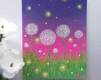 Fireflies in the Dandelions Original ACEO Painting 2018