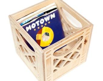 Record Storage // Mini Wooden Milk Crate // 45 Record Storage // Planter Container // Storage Container