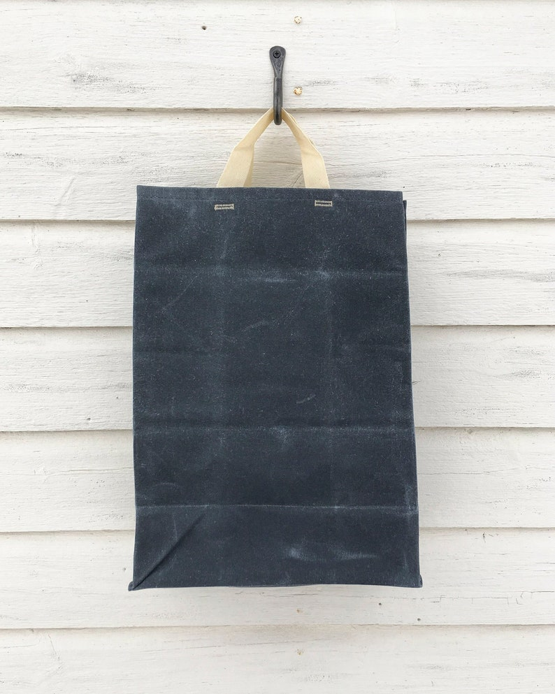 1160c07eea3 Grocery Tote in Charcoal    Waxed Canvas Bags    Reusable