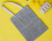Grocery Bag // The Original Waxed Canvas Grocery Bag // Farmers Market Bag in Navy Ticking Striped // Brown Bag