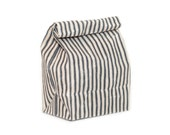 Lunch Bag // The Original Waxed Canvas Lunch Bag // Lunch Bag in Navy Ticking Striped // Brown Bag