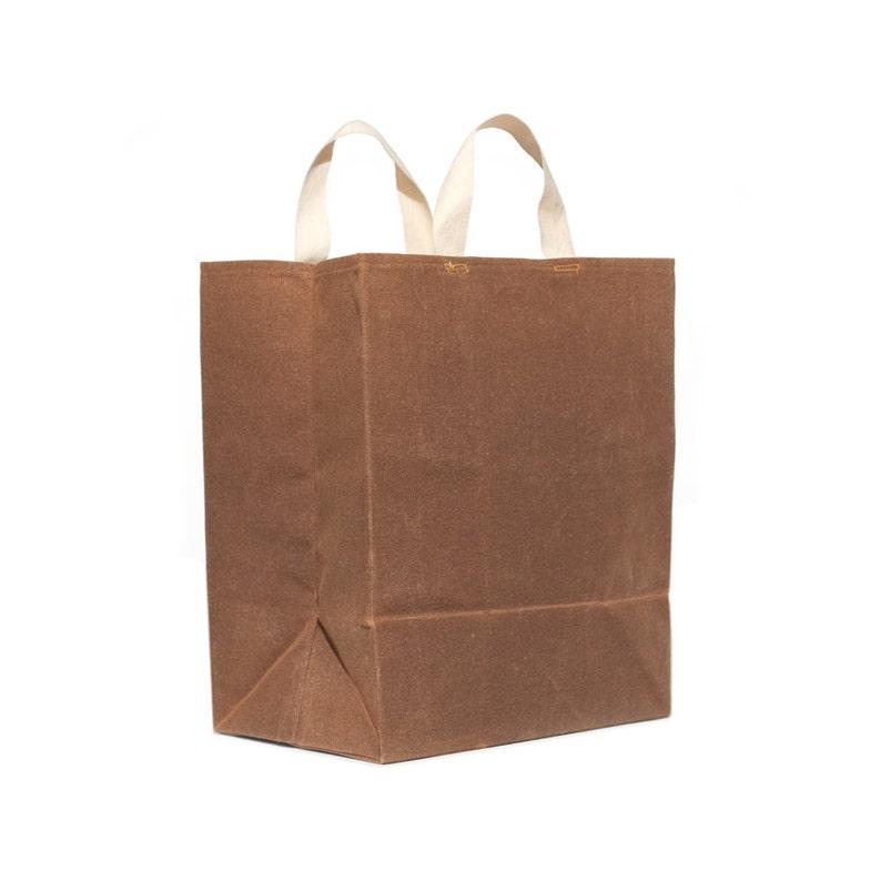 364b7087abb1c0 ... Market Bag // Waxed Canvas Bag // Reusable Grocery Bag // image 1 ...