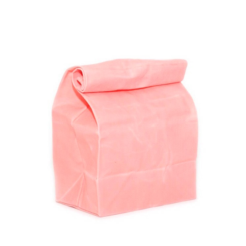 Pin /& Lunch Bag Set in Coral  Kristina Micotti Strawberry Pin  WAAM Industries Waxed Canvas Lunch Bag Collab Series