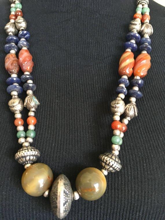 Gemstone Vintage Necklace,  Vintage Jewelry, Vinta