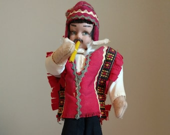 "Vintage 9"" Flute Player Cloth Doll from Argentina"