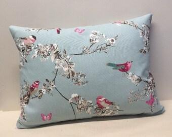 Bird Cushion Cover, Duck Egg Blue Cushion Cover