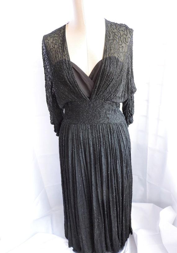 1950'S Ceil Chapman Black Silk Beaded Dress