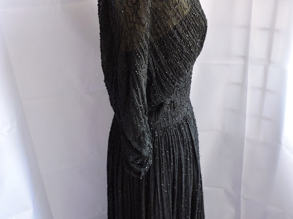 1950'S Ceil Chapman Black Silk Beaded Dress - image 2