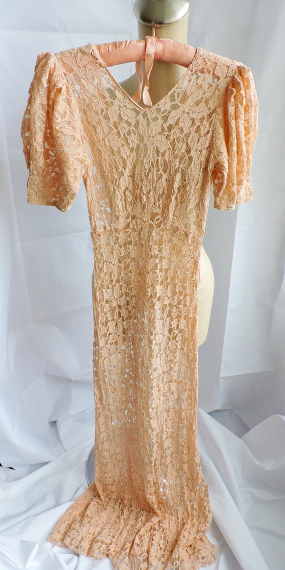 30's Peach Lace Gown