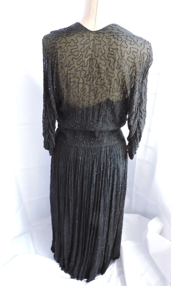 1950'S Ceil Chapman Black Silk Beaded Dress - image 4