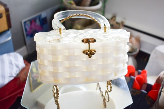 50's White Lattice Handbag