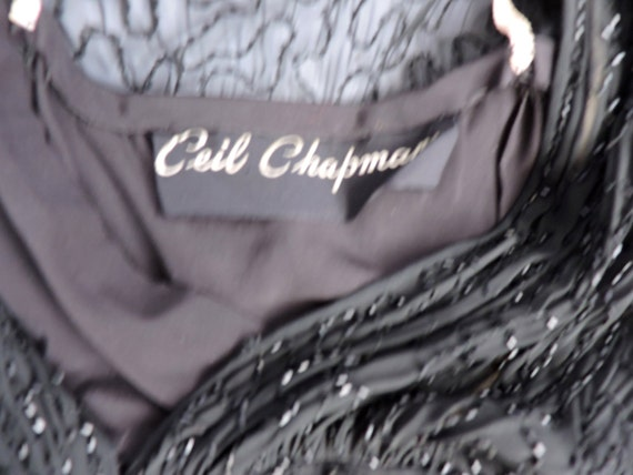 1950'S Ceil Chapman Black Silk Beaded Dress - image 5