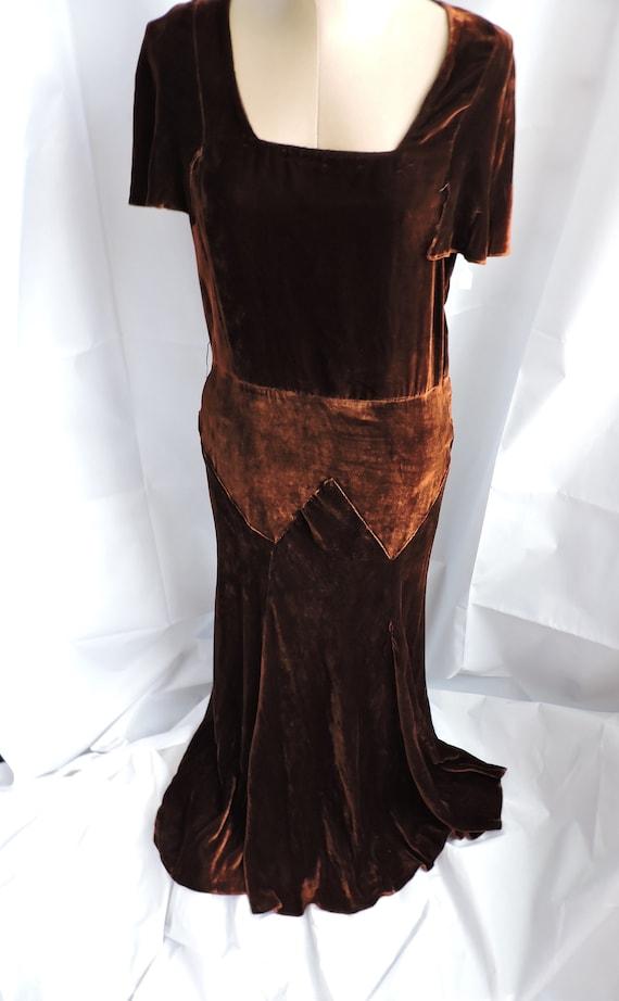 30's Silk Velvet Gown
