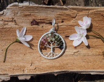 Watermelon Tourmaline Tree of Life Pendant Sterling Silver