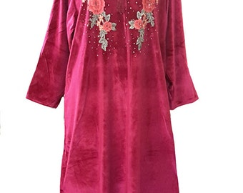 15099 Ladies Burgundy Velvet Knitted Multi-colour Embroidery Long Sleeve Kaftan. Size:- M/L/XL/XXL