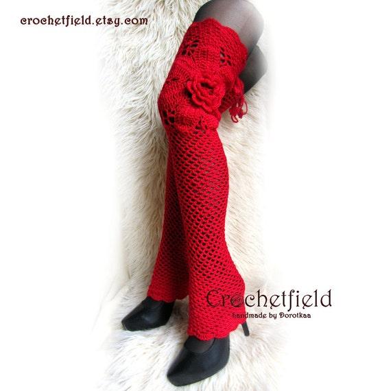 Ballet Warmers Crochet Gift Leggings her knee Leg boot lace Leg for stockings fitness warmers high Dance flower socks Red over wq7FF6