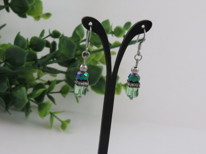 faceted rhinestone stainless steel ball spacer blue bead Earrings cube glass green
