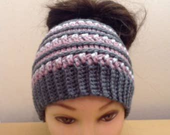 Katniss Messy Bun Hat    Made To Order    Ponytail Hat    Messy Bun Beanie     Beanie With Ponytail Hole    Beanie With Hole    Winter 628ece7d64b