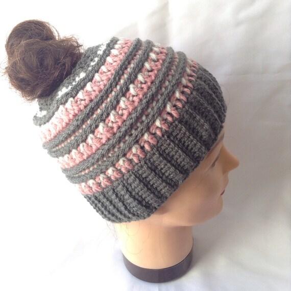 Katniss Messy Bun Hat Made To Order Ponytail  c1d96c53c55