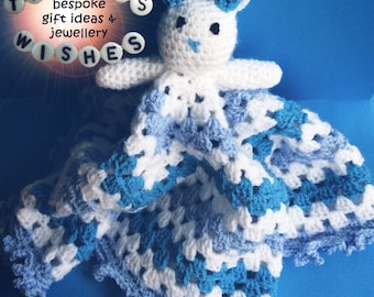 Handmade Crocheted Bunny Comforter >> Snuggle Blanket >> Lovey >> Baby Gift >> Baby Shower >> Blanket >> Rabbit