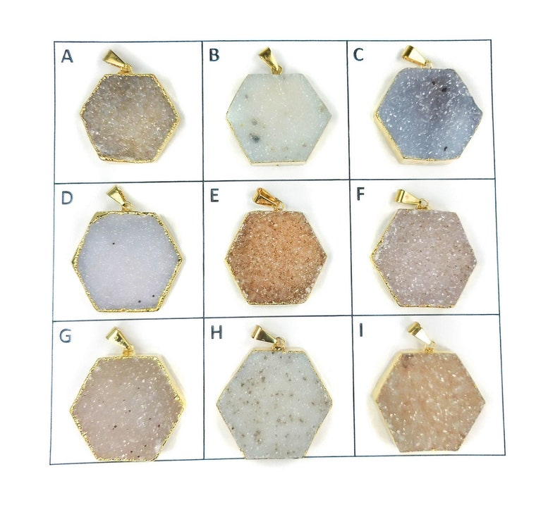 Raw Crystal Gold Hexagon Natural Gemstone Jewelry C9 Healing Crystals and Stones Druzy Agate Necklace Pick Your One Of A Kind Pendant