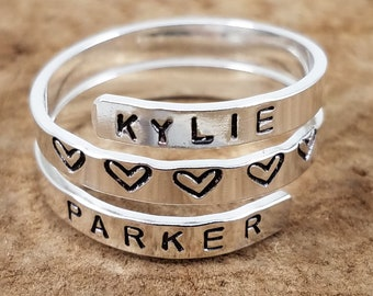 """Sterling Silver Wrap Rings - 1/8"""" Single, Double or Triple; Custom, Hand-Stamped, Personalize"""