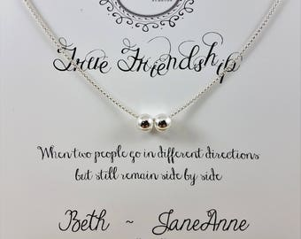 True Friends Bead-Charm Necklace - Sterling Silver - Friendship