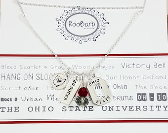 Ohio State Buckeyes Hand-Stamped Charm Necklace; Sterling Silver