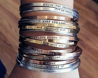"""We'll Stamp What You Want Bangles!! 1/8"""" Aluminum, Brass, Copper; Custom, Personalize, Hand Stamped"""