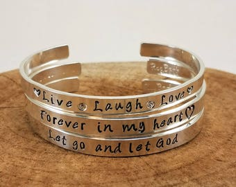 """Custom Hand-Stamped Bangle - 1/4"""" Sterling Silver; Personalize"""