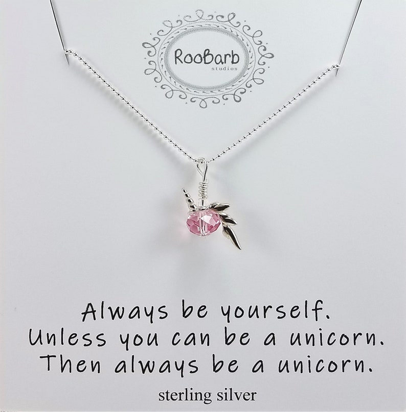 5d80ebe37e8c1 Unicorn Charm Necklace w/Swarovski Crystal; Sterling Silver; Always Be  Yourself Unless You Can Be a Unicorn Then Be a Unicorn