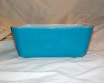 Casserole, Vintage Blue Pyrex 502 Refrigerator Dish