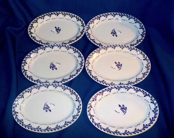 Plates, Set of Six Lamberton Scammell Platinum Blue Oval Plates, Resturant Ware, Heavy China, Hand Applied Glaze Pattern