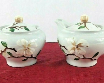 Orchard Ware Made In California Dogwood Pattern Sugar Bowl With Lid