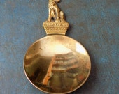 ALSATIAN WOLF DOG antique Brass Tea Caddy Spoon Vintage Made in England c1890