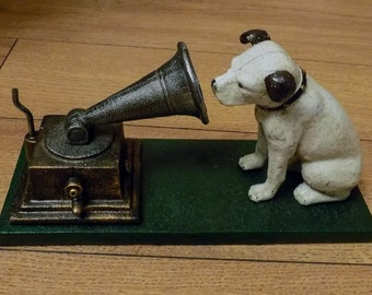 """Superb Hand painted Cast Iron """" HMV His Masters Voice Dog and Gramaphone Ornament"""