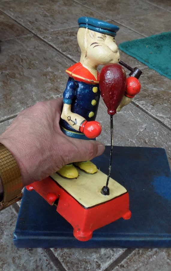Vintage Style Cast Iron Boxing Popeye the Sailor Figure Collectable