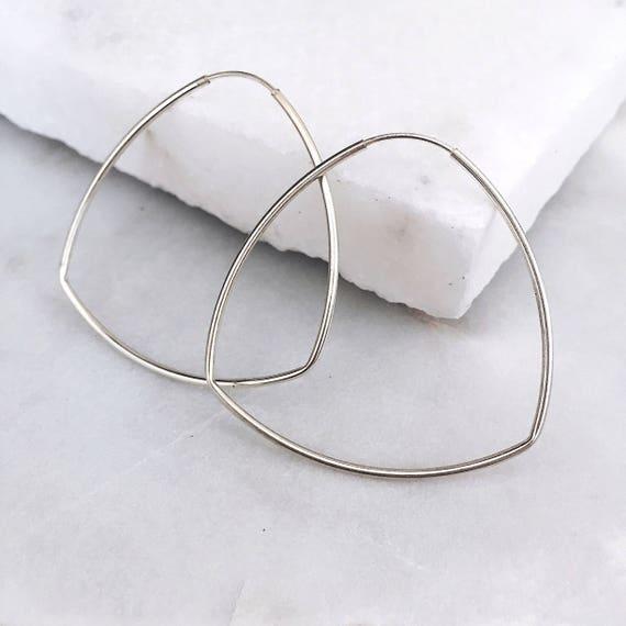 Big Hoop Earrings Dainty Silver Earrings Sterling Silver Etsy