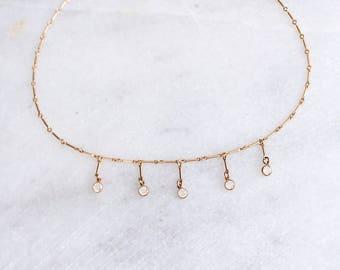 Delicate Gold Necklace, Swarovski Necklace, Boho Necklace, Statement Necklace, Dainty Necklace, Layering Necklace, Gold Filled