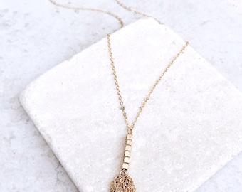Tassel long necklace, 14k gold filled, delicate necklace, Tassel necklace, bridesmaids gift, Unique necklace, gold fill necklace