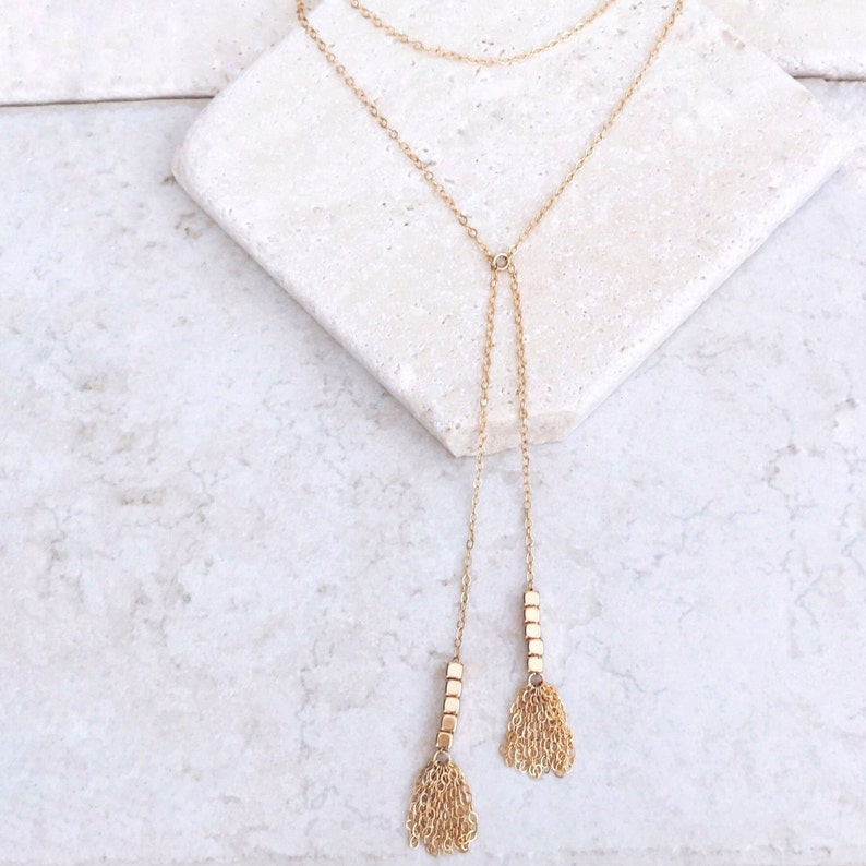 Tassel necklace Unique necklace Y Tassel necklace 14k gold filled gold fill necklace delicate necklace gift for her