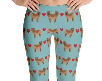 Chow Chow Hearts Leggings - pure breed dog lover gifts