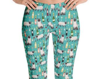 39f19df8752cd Siamese Cat Leggings - Womens Cat Leggings, Cat Lady Leggings, Cats and  Wine Leggings, Wine leggings