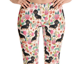 Black and Tan Dachshund Floral Leggings - must have gifts for doxie dog lover